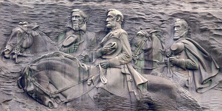 Carving of soldiers on Stone Mountain