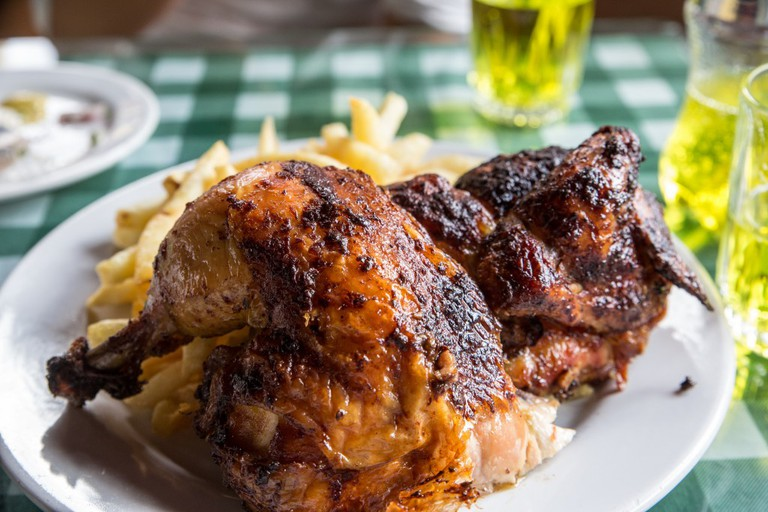 Crisp and juicy Peruvian chicken
