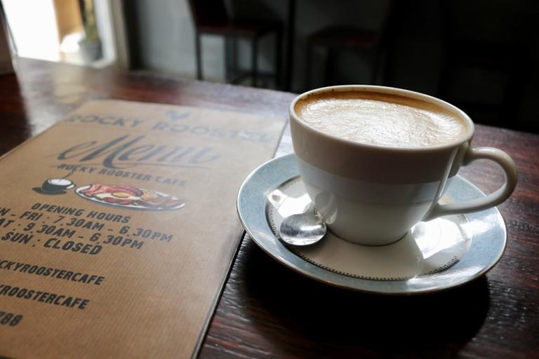 Latte at Rocky Rooster Café