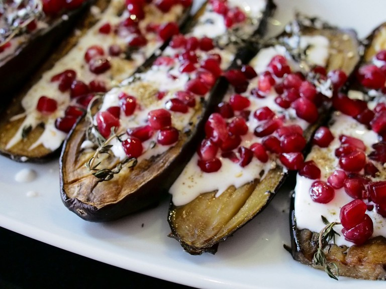 Aubergines with buttermilk sauce by Ottolenghi