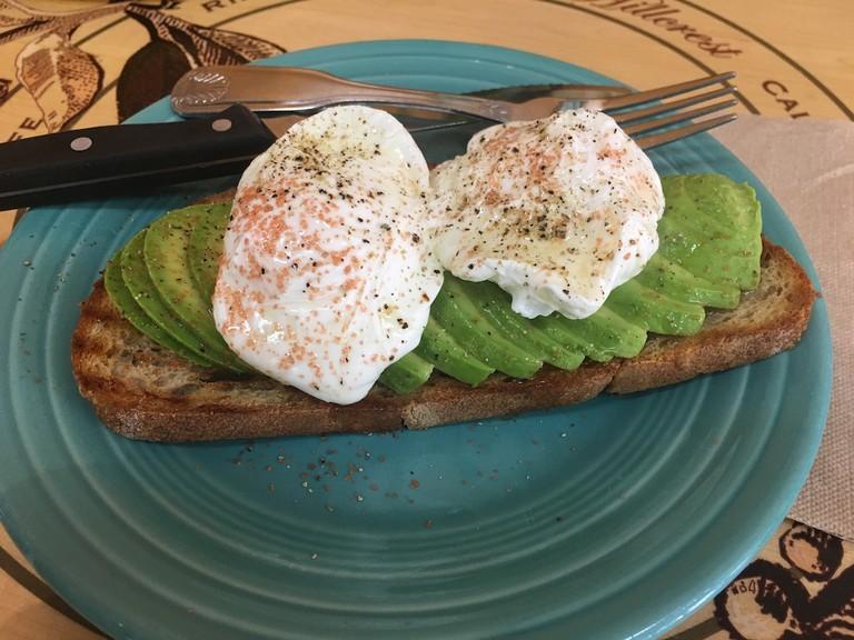 Avocado toast at Bread & Cie