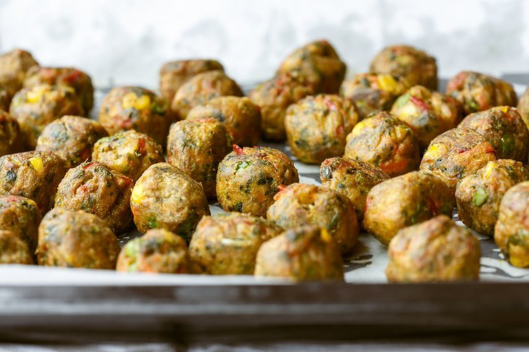 Vegetarian albóndigas - meatballs - are on offer at the Green Bar