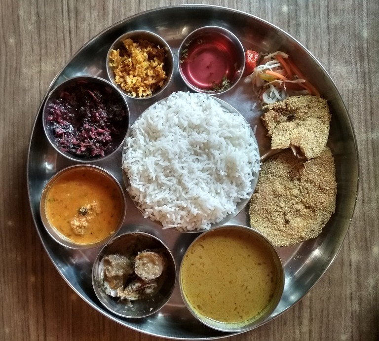 The prawn thali at Shree Sateri Kamakshi Restaurant
