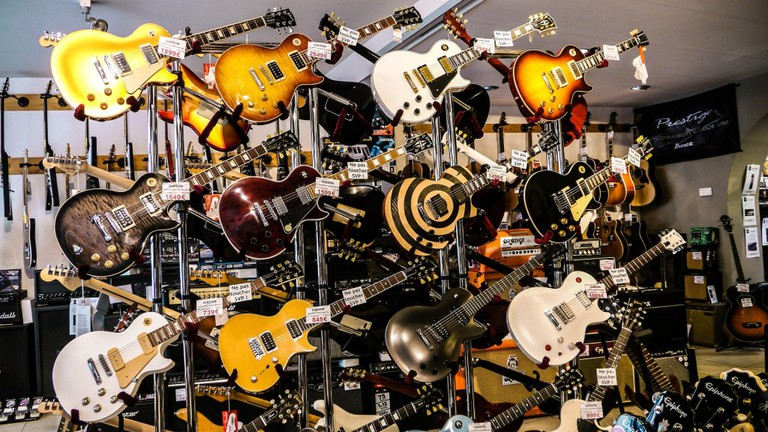 A stand of guitars