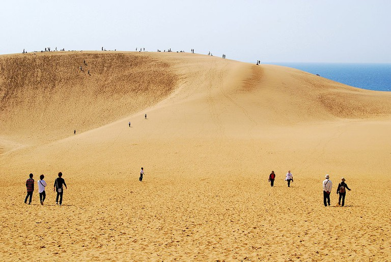 Young and old enjoy checking out the Tottori Sand Dunes