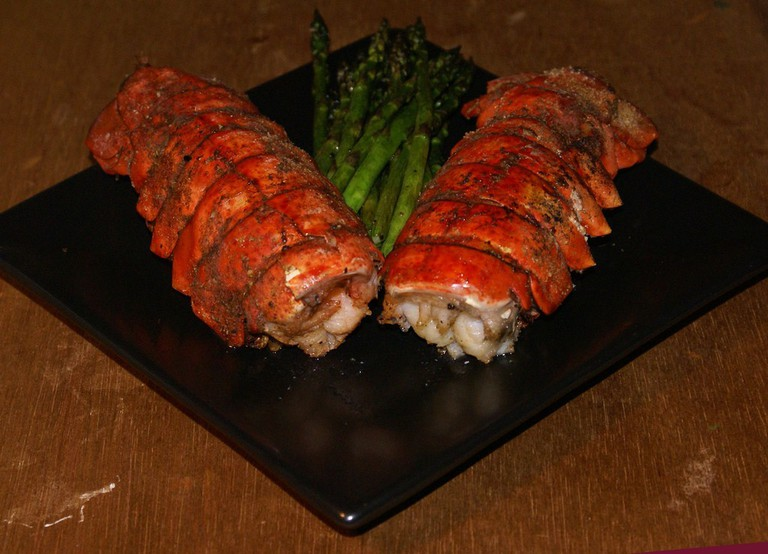 Grilled lobster tails and asparagus