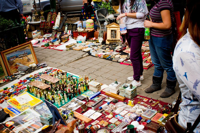 Browsing the wares at a bazaar in Mexico City