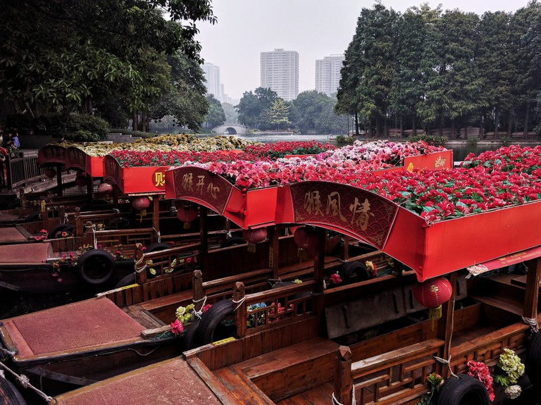 Flower Topped Boats at Li Wan Lake Park