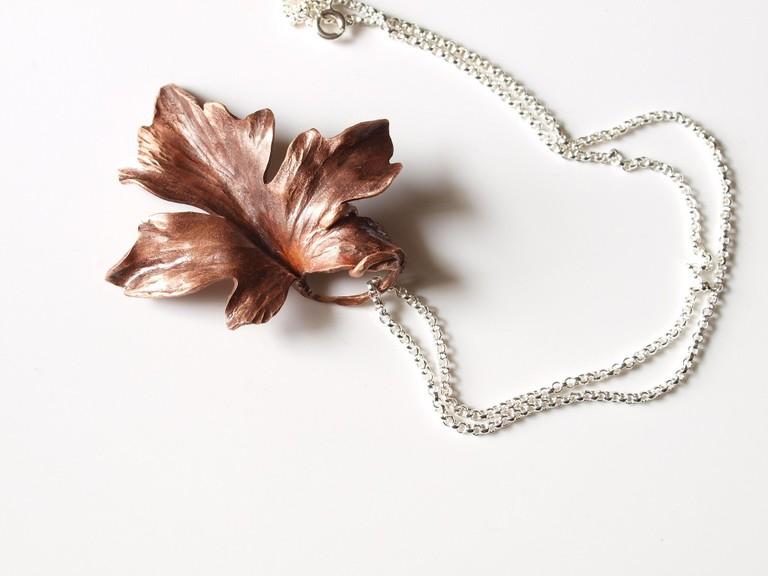 Handmade maple leaf pendant