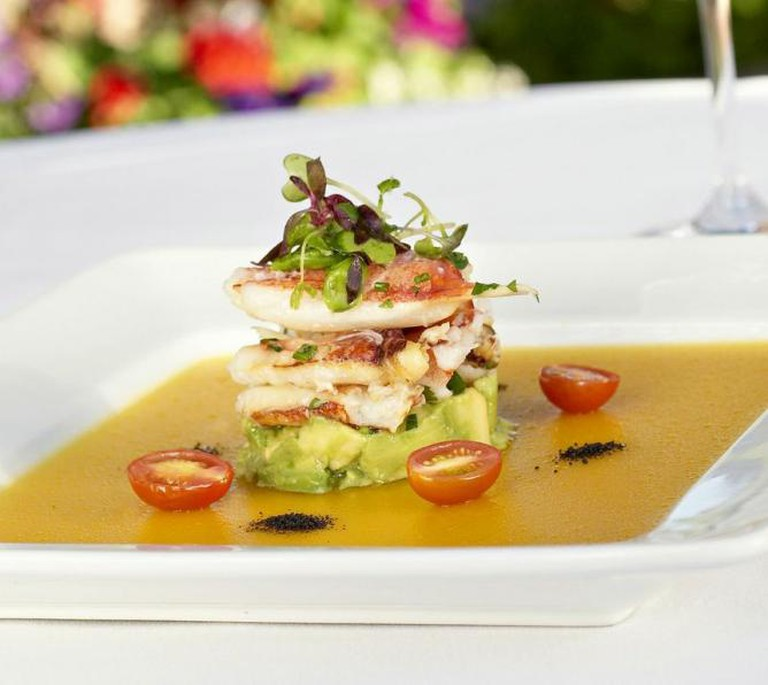 Dungeness crab with avocado and gazpacho gelee