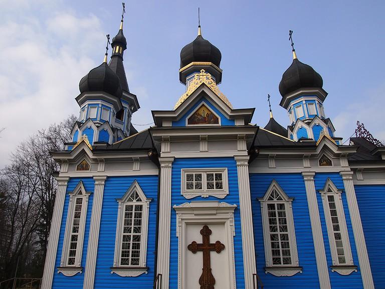 Bright blue Russian Orthodox church in Druskininkai