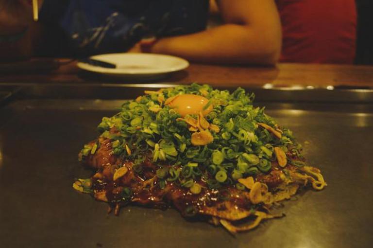 Nagata-ya restaurant's green onion and egg okonomiyaki