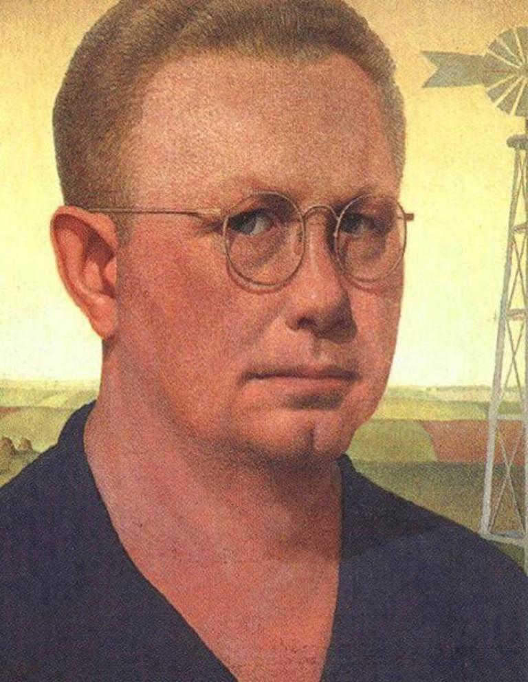 Grant Wood, Self-Portrait, Figge Art Gallery, 1925