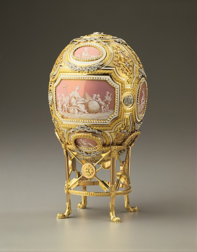 Catherine the Great Easter Egg, 1914. St. Petersburg, Russia. Gold, diamonds, pearls, opalescent enamel, opaque enamel, silver, platinum, mirror