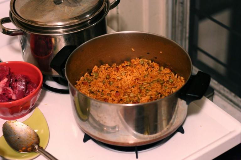 Jollof rice on cooker