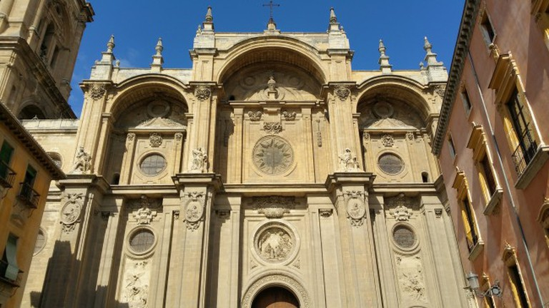 The facade of Granada's cathedral