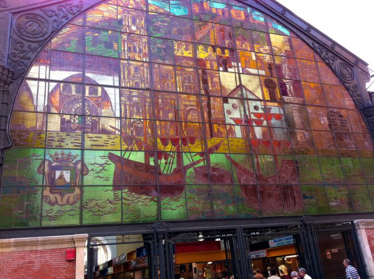 The stained glass window at Atarazanas market