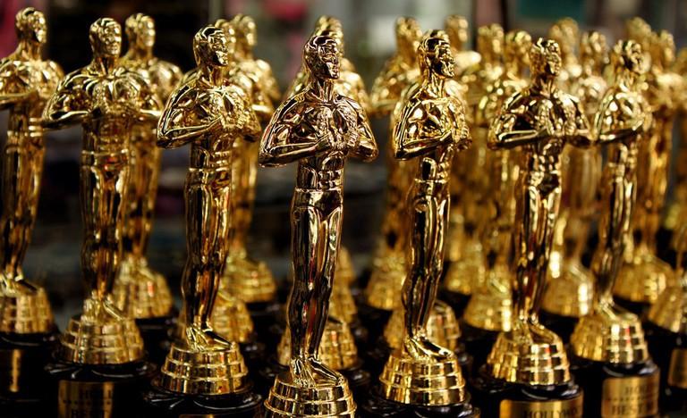 Tiny gold statues line Hollywood souvenir shops