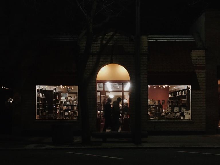 Bookstore at night