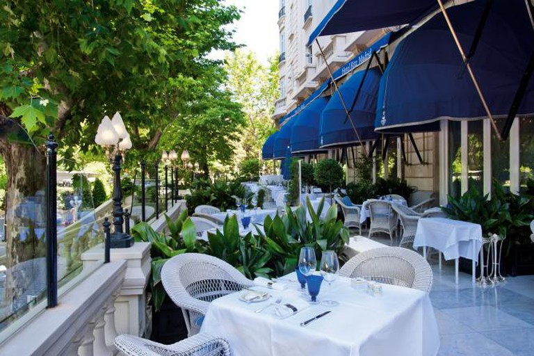The terrace and gardens of the Hotel Ritz, Madrid