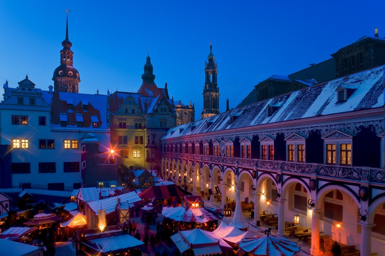 Christmas market at Dresden's Stallhof, once the location for jousting and other events