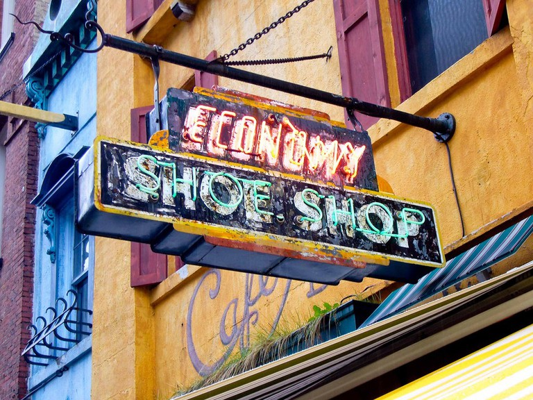 The Economy Shoe Shop Cafe sign