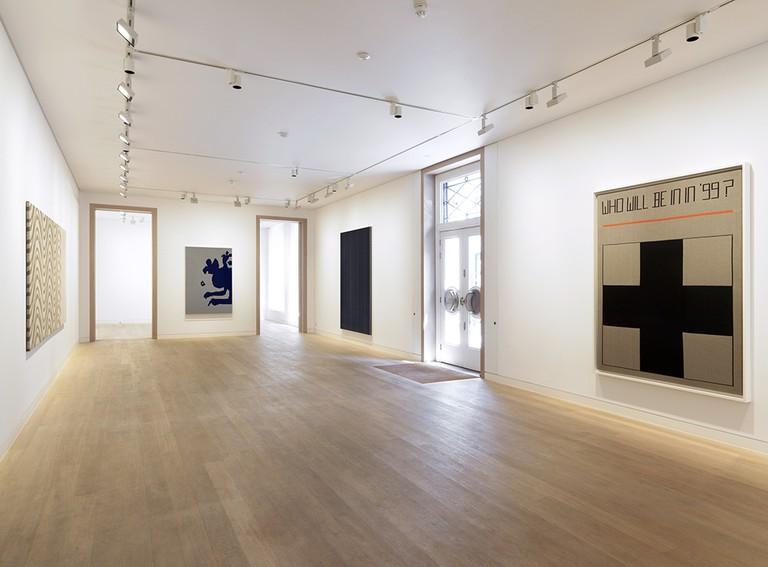 Installation view of 'Rosmarie Trockel: Knitted Works' at Skarstedt, London