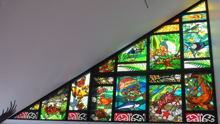 Stained Glass Window of New Zealand Wildlife at the Nelson Provincial Museum