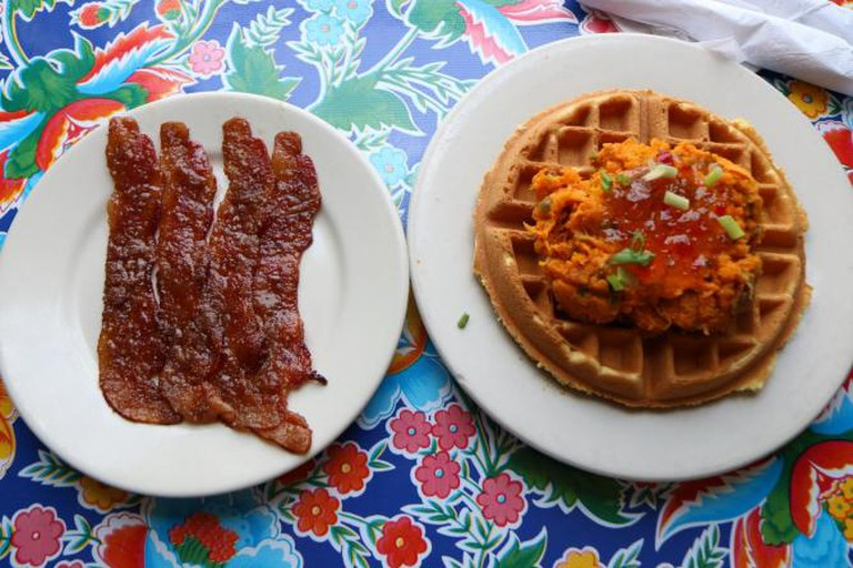 Duck and Sweet Potatoe Waffle with Praline Bacon