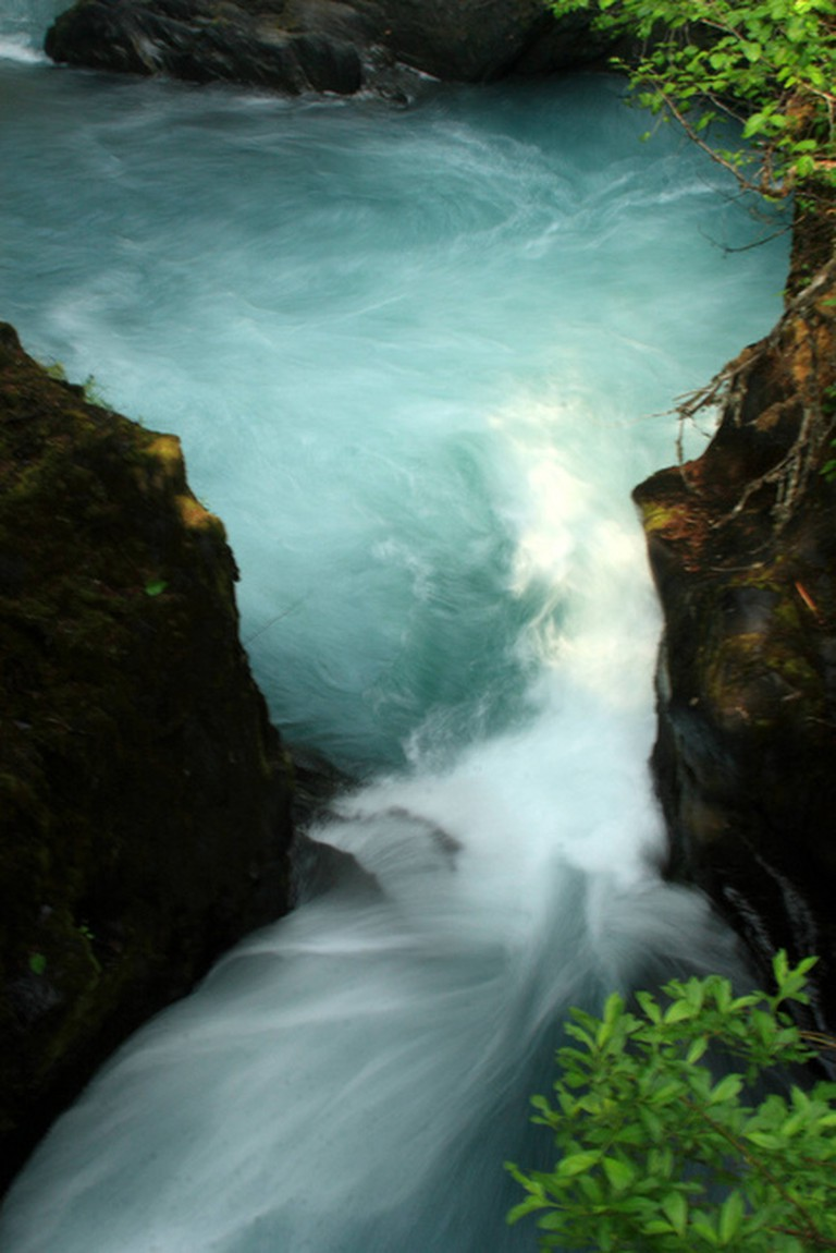 A waterfall in Chugach National Forest