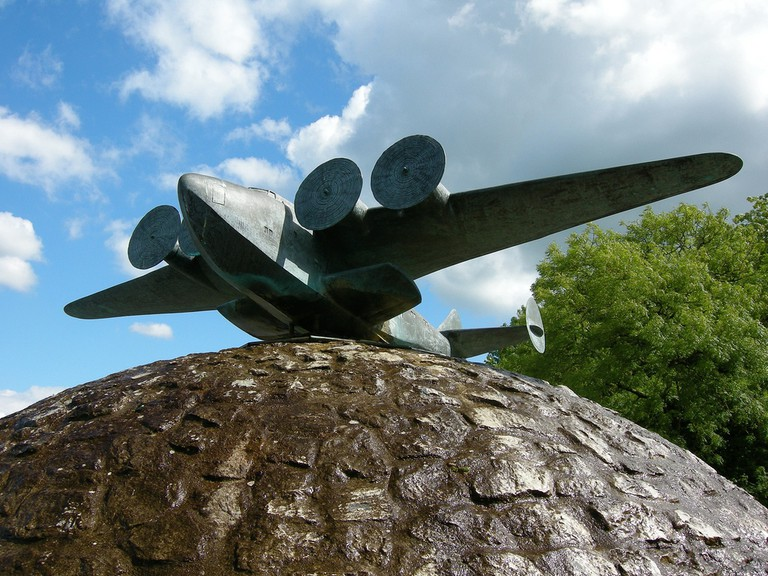 Statue outside of Foynes Flying Boat Museum