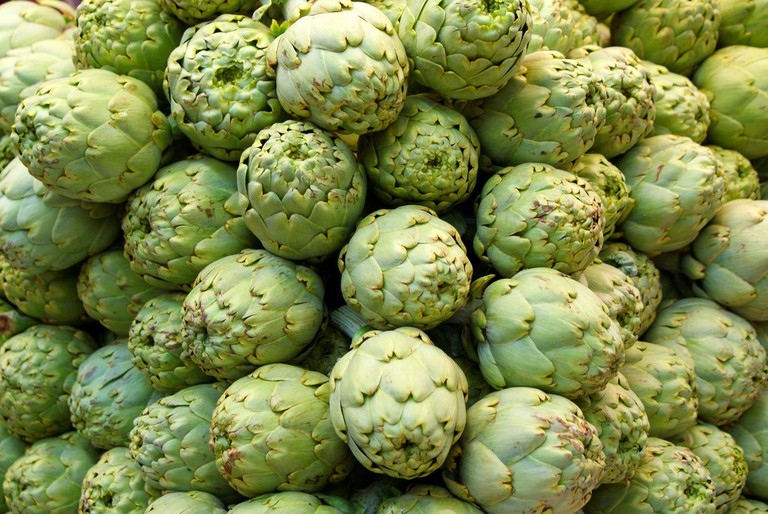 Artichokes, a Valencian staple, for sale in the market