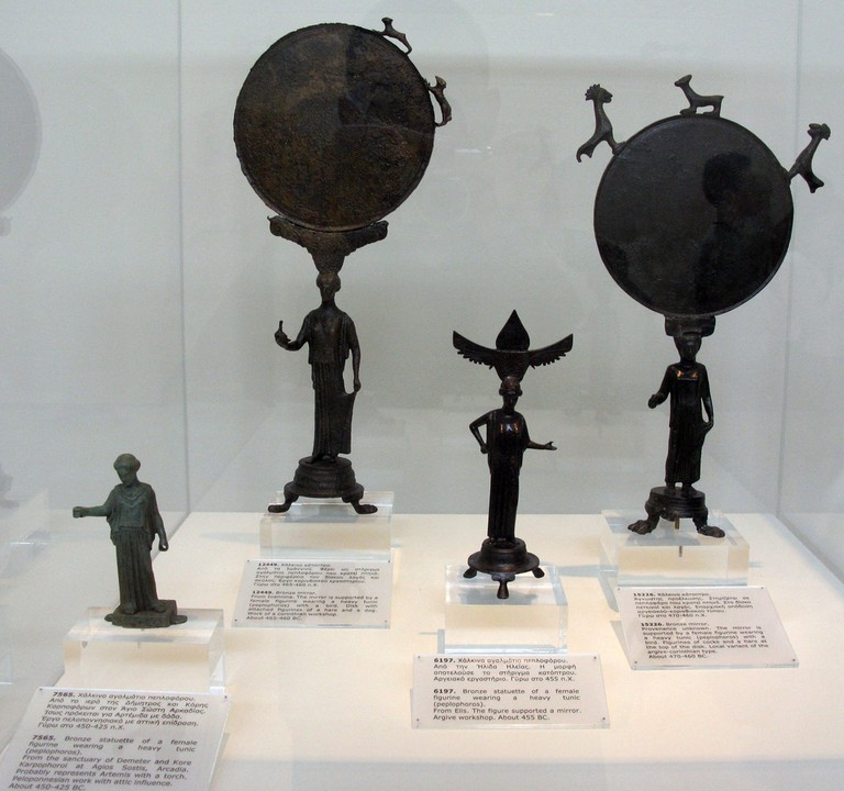 Bronze mirrors, exhibited at the Archaeological Museum of Ioannina