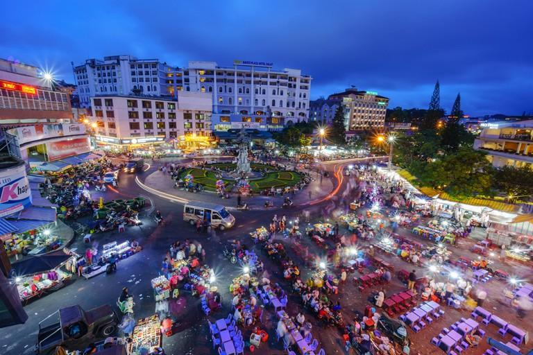 Bustling night market in Dalat