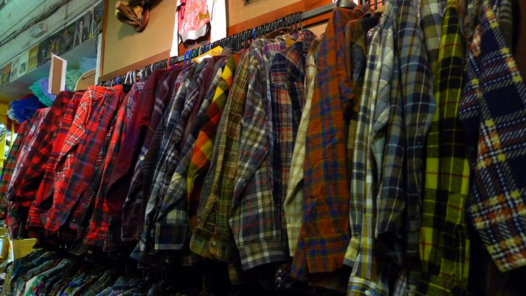 A classic sight in vintage clothing stores