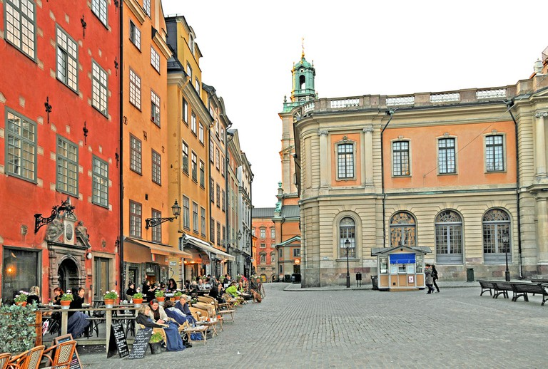 Café Kaffekoppen is the first café on the left here in Storatorget|