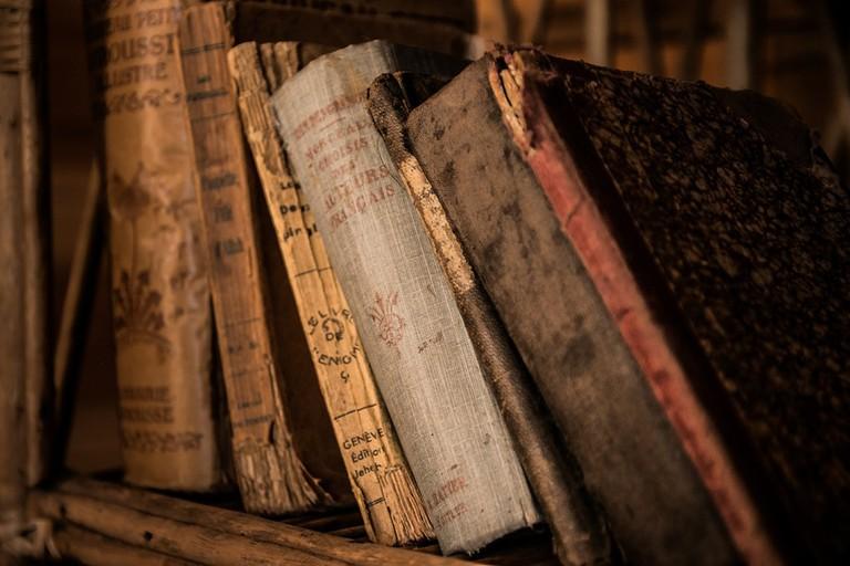 Shelf of battered books