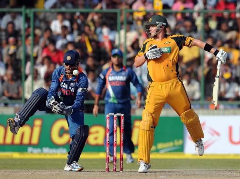 A cricket match between India and Australia at Feroz Shah Kotla Stadium, New Delhi
