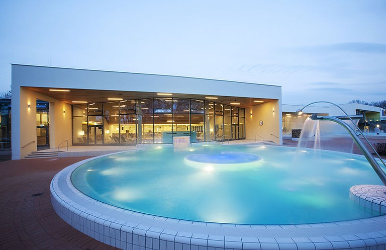 Beautiful steamy outdoor pool