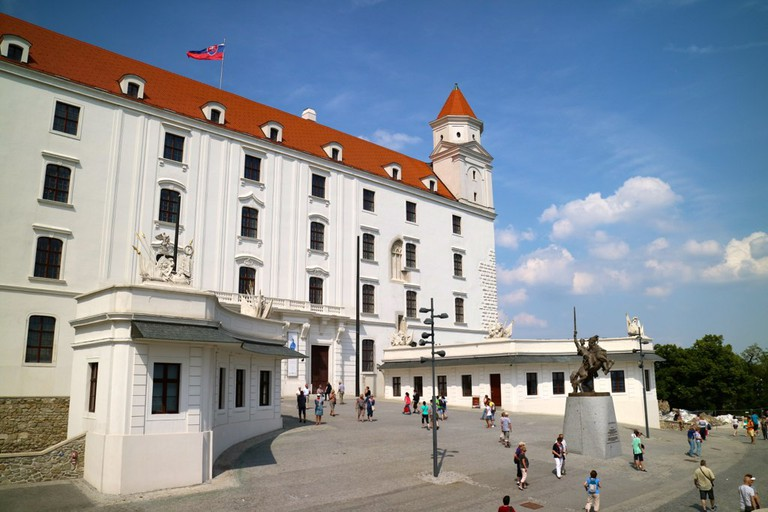 Look closely at the façade of the Bratislava Castle (hint: the second row of windows from the right) to catch a glimpse of old design elements preserved in the current reconstruction