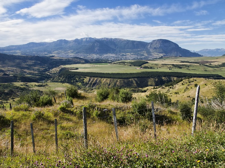 Coyhaique, situated at the base of the Patagonian mountains