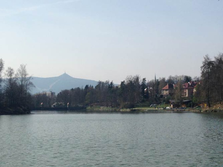 The Liberec Reservoir (the restaurant is on the waterline on the right of the photo)