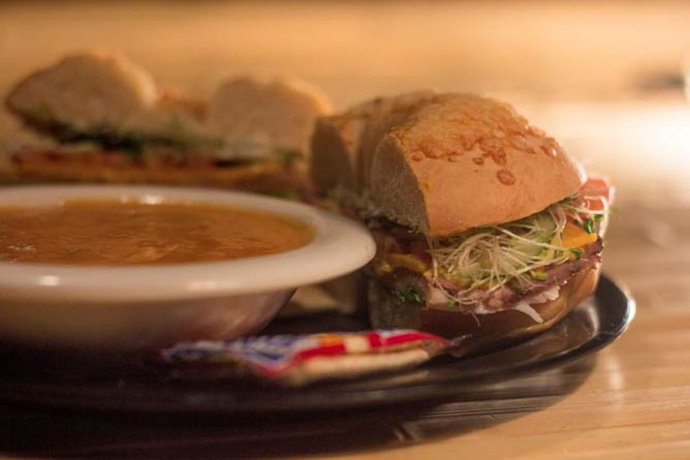 The Governor bagel sandwich with spicy chicken tortilla soup
