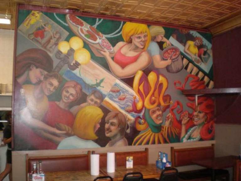 Mural inside Broussard's Cajun Cuisine