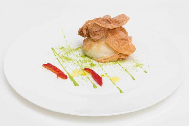 Antico Arco's crispy mozzarella, tuna roe, and tomato confit