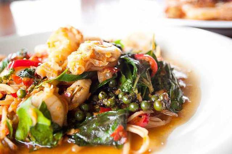 Thai Basil Leaves Seafood Stirfry