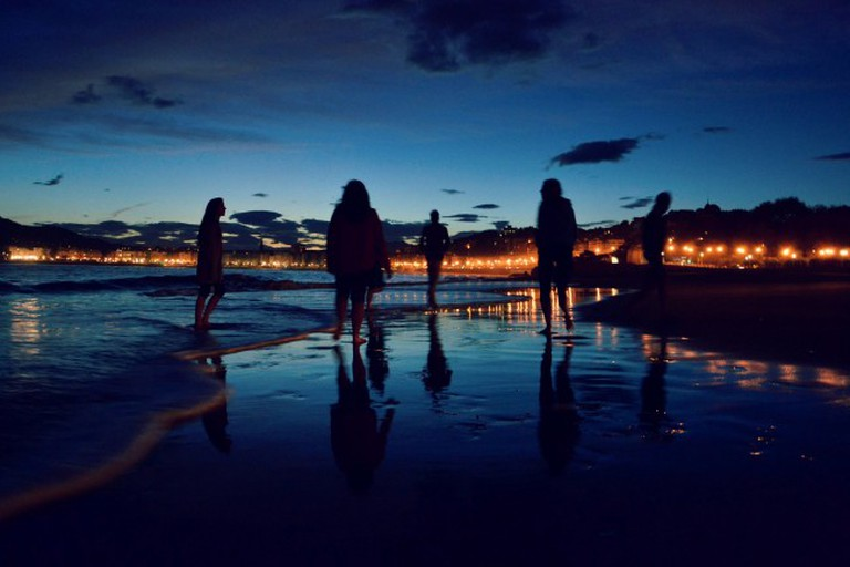 Nightlife continues on the beach in San Sebastian