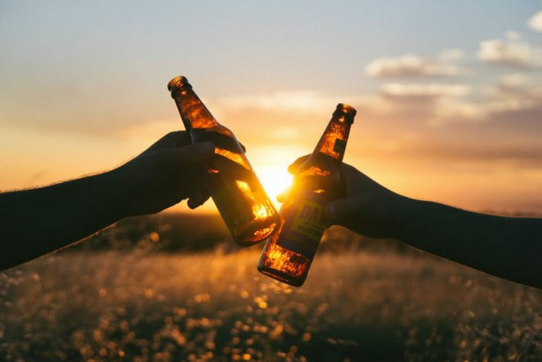 Enjoy a beer over sunset