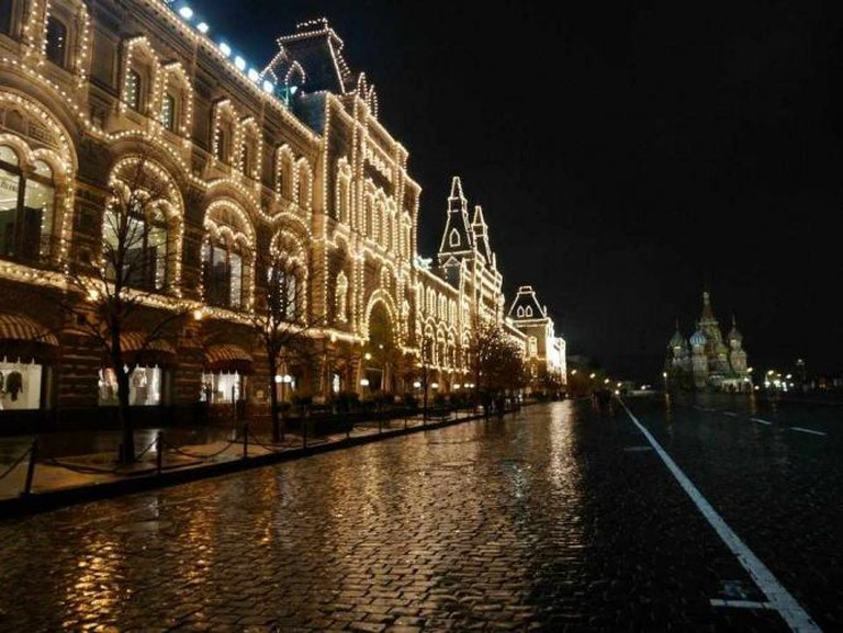 Red Square's GUM shopping center by night