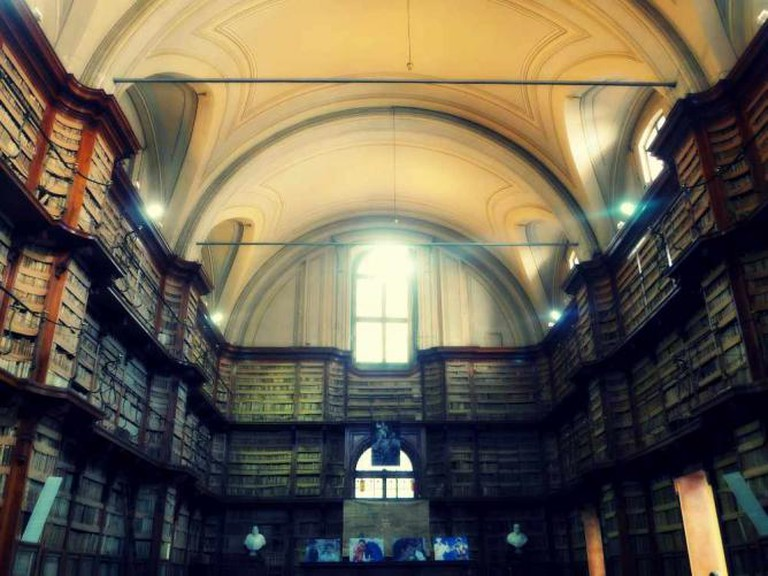 The historic interior of Rome's Angelica library